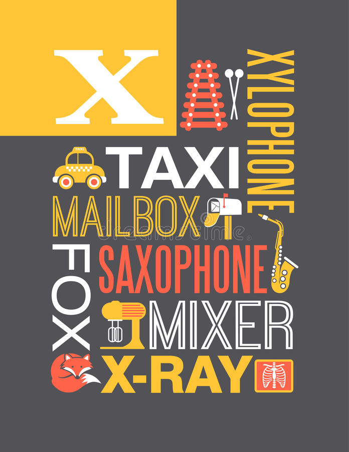 Free Letter X Words Typography Illustration Alphabet Poster Design Royalty Free Stock Photography - 46597477