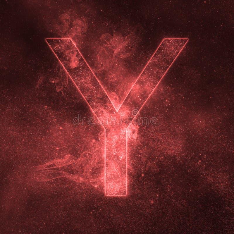 Letter Y alphabet symbol. Space Letter, Night Sky Letter. Space letters vector illustration