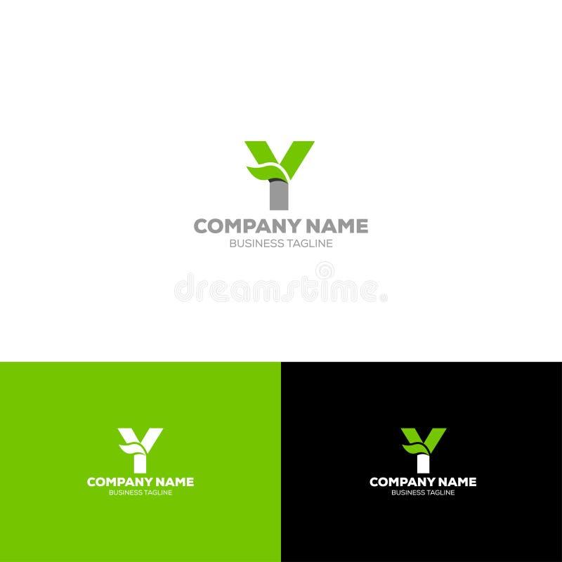 Letter Y leave organic logo design template. Letter Y leave logo template for organic, agriculture, food beverage company stock illustration