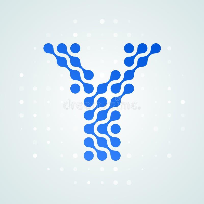 Letter Y logo modern halftone icon. Vector flat letter Y sign futuristic blue dot line liquid font trendy digital design. Letter Y logo modern halftone icon vector illustration