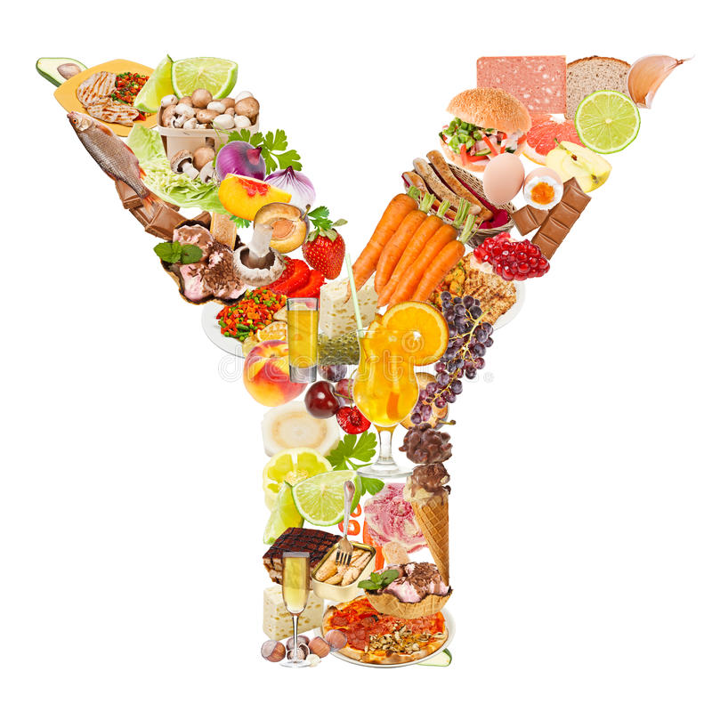 Letter Y made of food