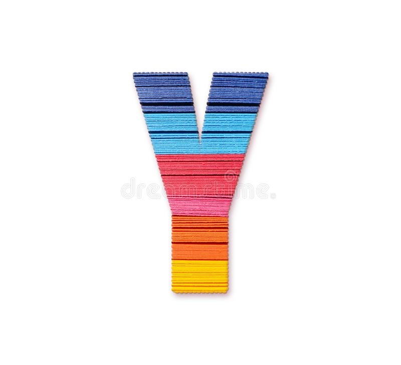 Letter Y. Rainbow color paper. stock illustration