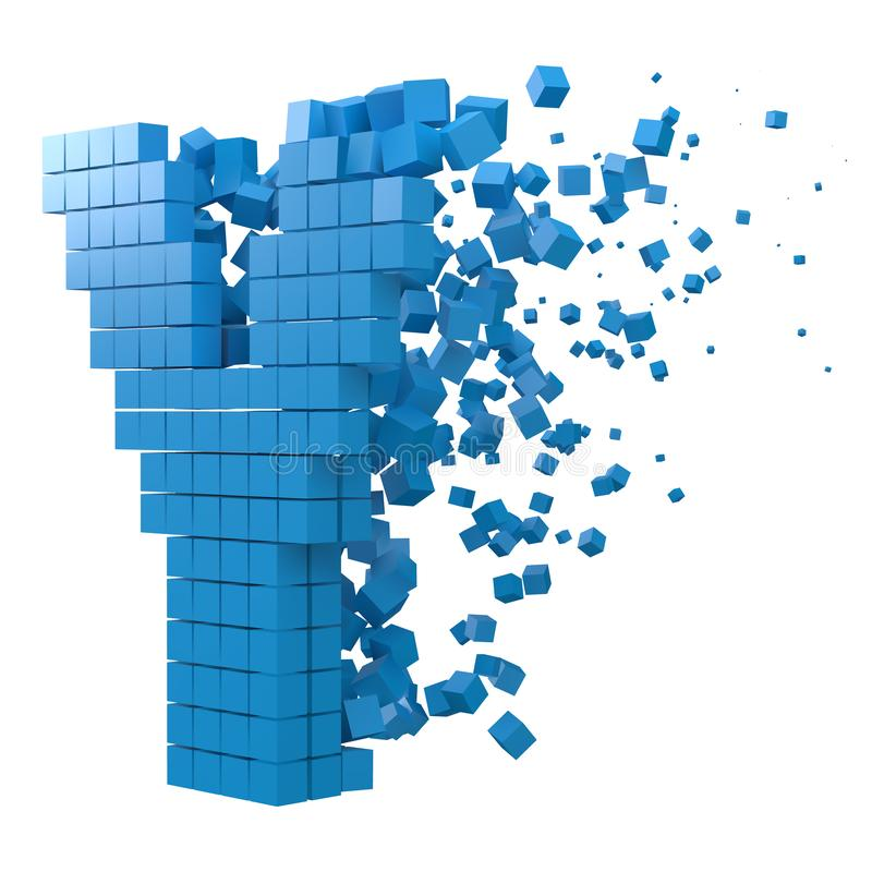 Letter Y shaped data block. version with blue cubes. 3d pixel style vector illustration. Suitable for blockchain, technology, computer and abstract themes stock illustration