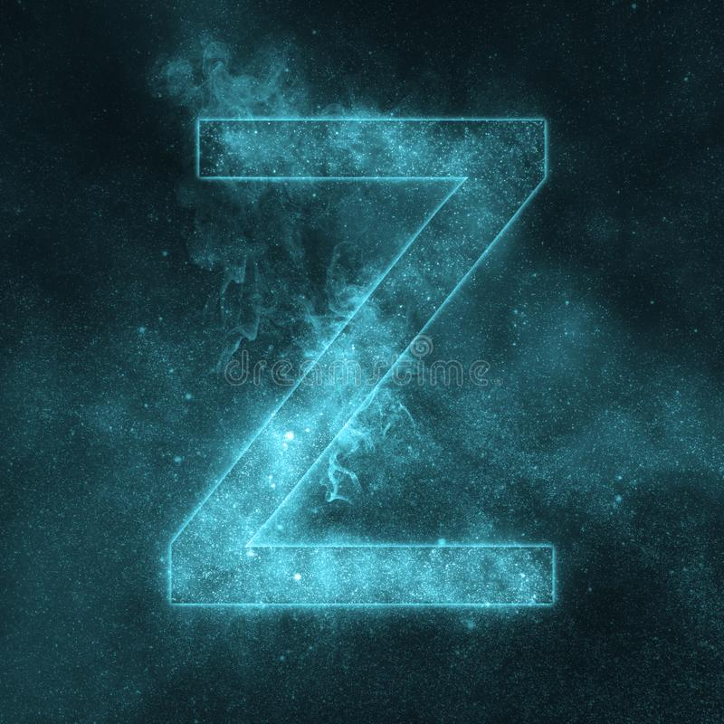 Letter Z alphabet symbol. Space Letter, Night Sky Letter. stock illustration