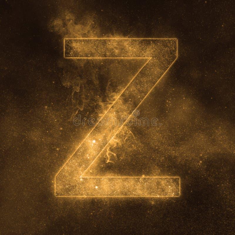 Letter Z alphabet symbol. Space Letter, Night Sky Letter. Space letters royalty free illustration