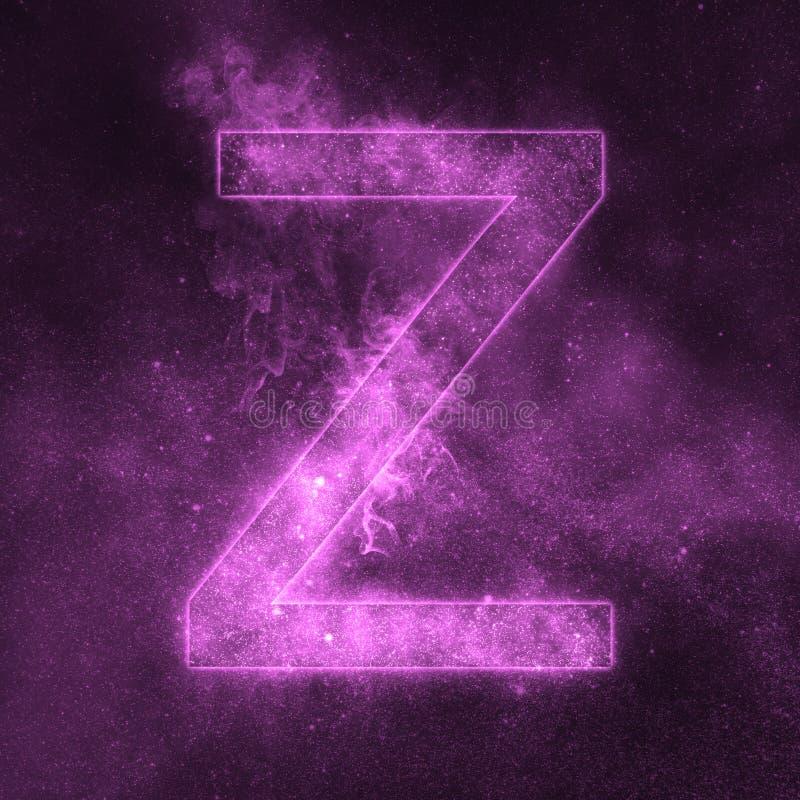 Letter Z alphabet symbol. Space Letter, Night Sky Letter. Space letters stock illustration