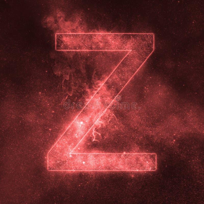 Letter Z alphabet symbol. Space Letter, Night Sky Letter. Space letters vector illustration
