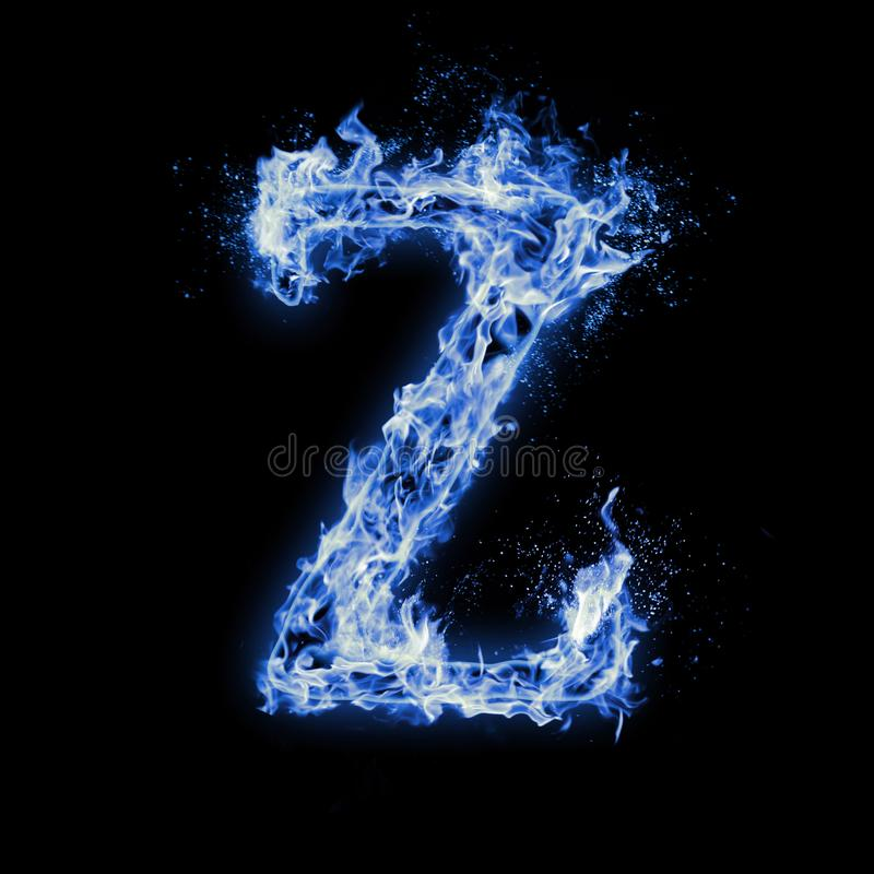 Letter Z. Blue fire flames on black royalty free stock photography