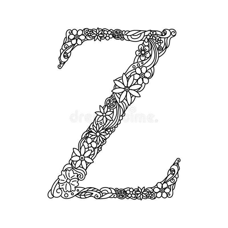 Download Letter Z Coloring Book For Adults Vector Stock