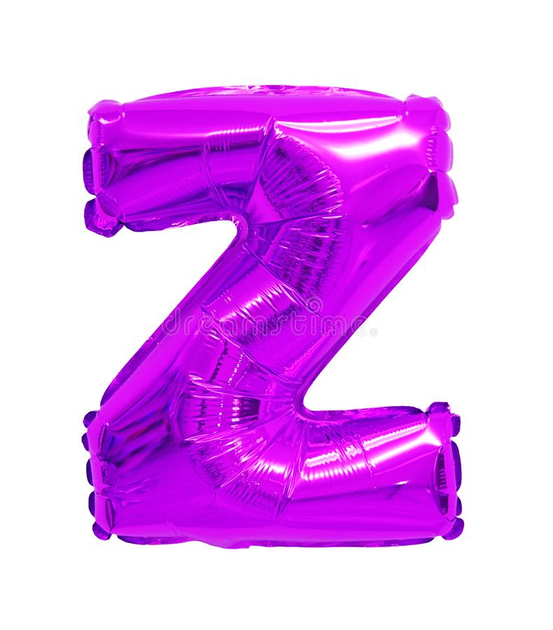 Letter z English alphabet purple, violet. Of balloons on a white background royalty free stock image