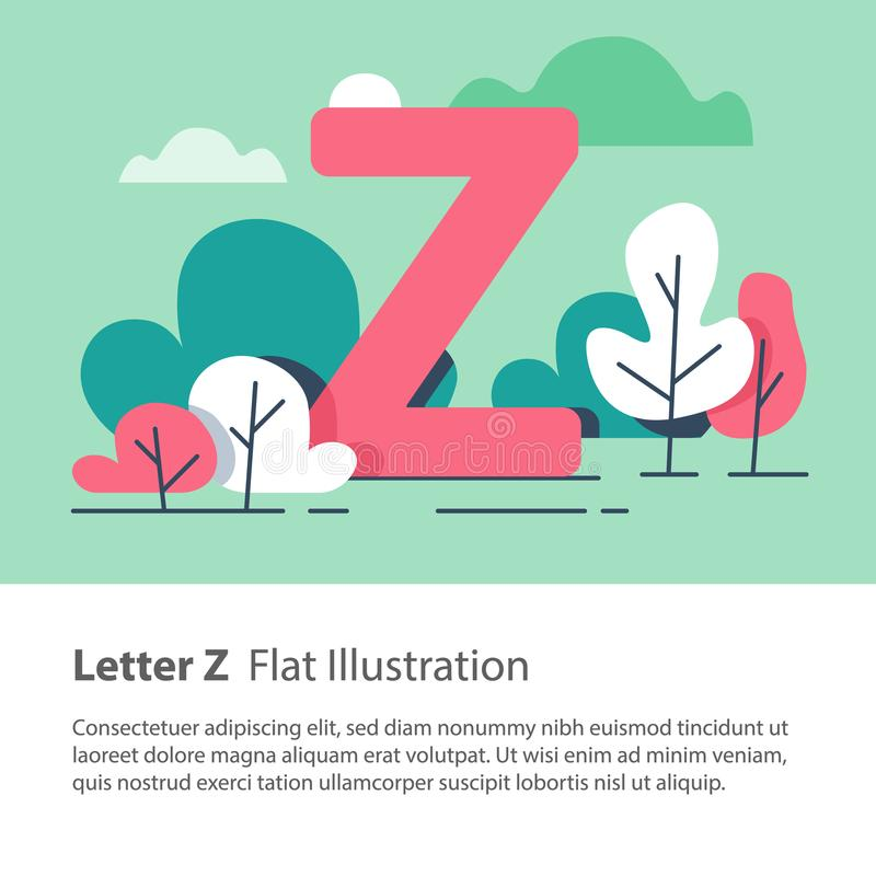Decorative alphabet, letter Z in floral background, park trees, simple font, education concept. Letter Z in floral background, park trees, decorative alphabet vector illustration