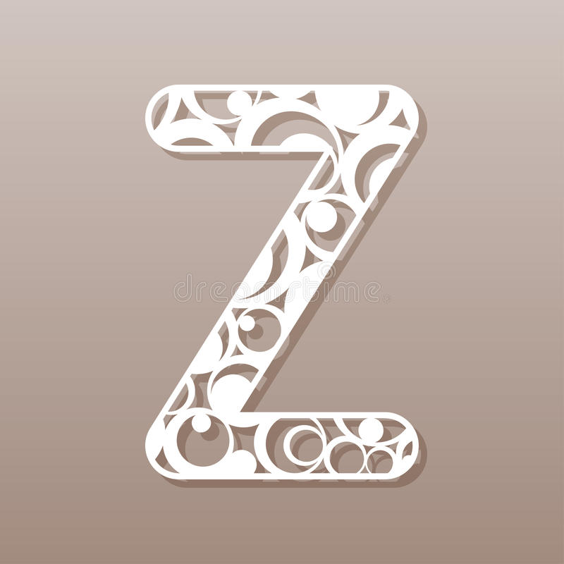 Letter Z For Laser Cutting English Alphabet Stock Vector