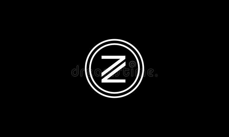 Letter Z,Z Z logo design in circle with black background . Abstract, modern, trendy, innovative, Creative, Vintage, Retro, stock illustration