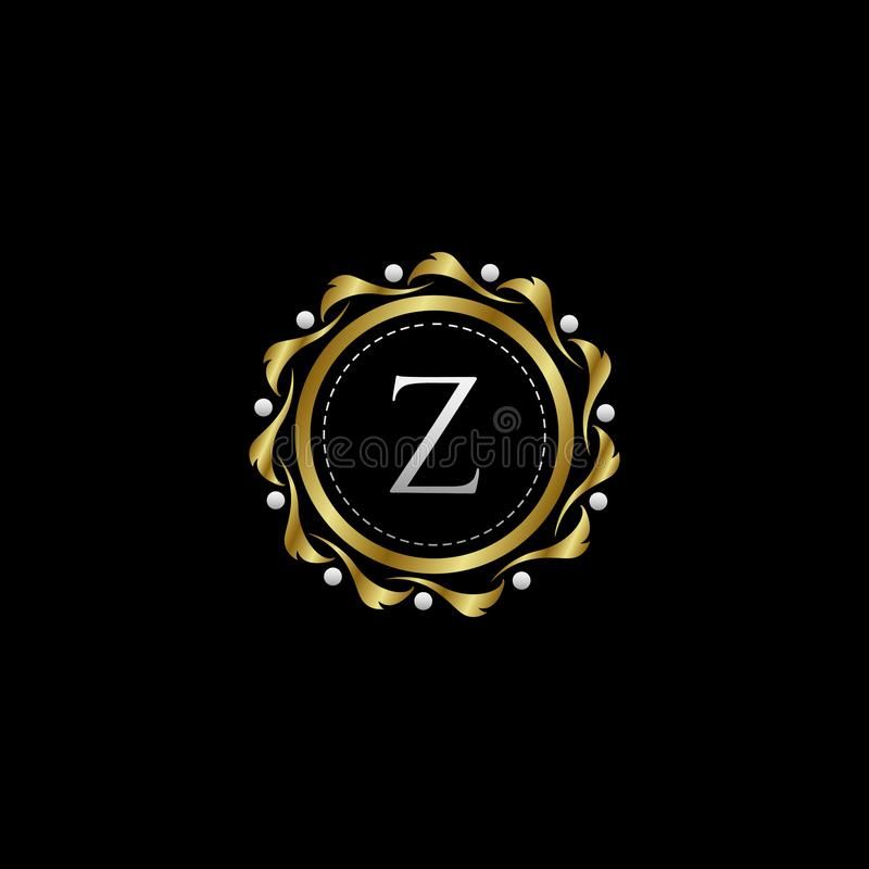 Letter Z Luxury Boutique Circle Badge Template Logo. Vector, suitable with classy and vintage theme royalty free illustration