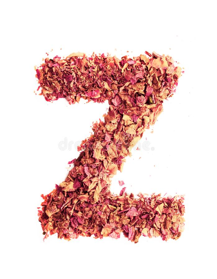 Letter Z made of dried rose petals, isolated on white background. Food typography, english alphabet. Design element.  stock image