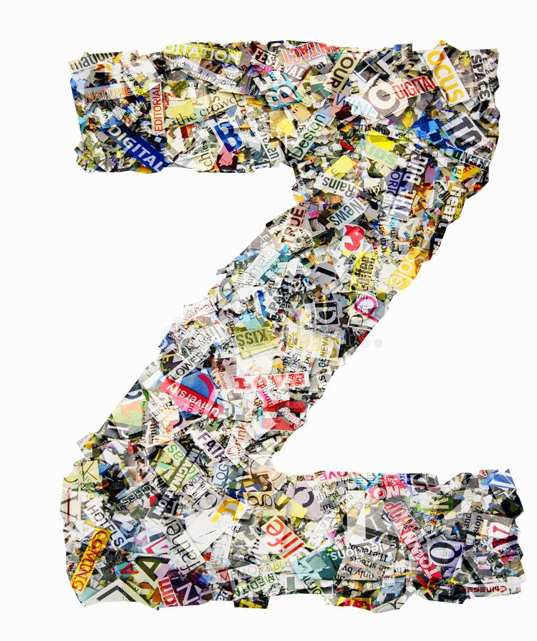 The letter Z made from newspaper and magazine stock photo