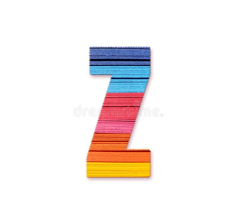 Letter Z. Rainbow color paper. stock illustration