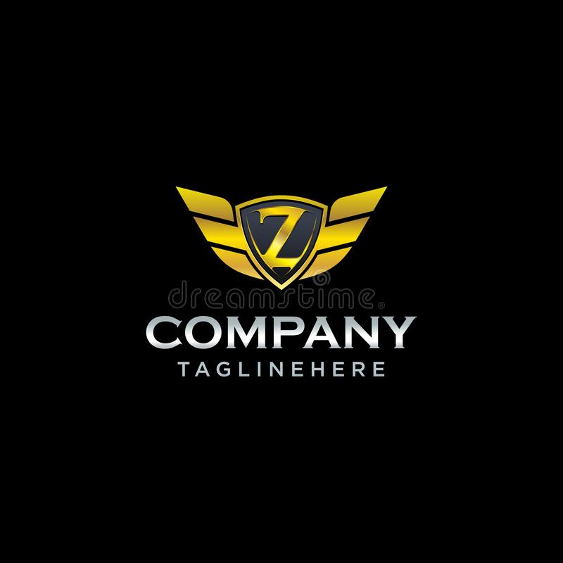 T Initial Shield Vector Logo Design Concept Logo Design And Business Card: Letter M Shield With Wings Gold Color Logo Design Template