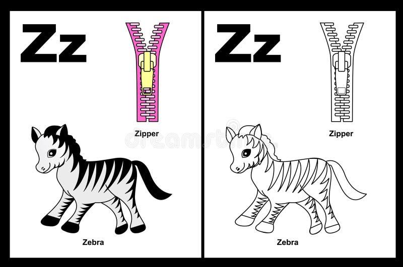 Letter Z worksheet vector illustration