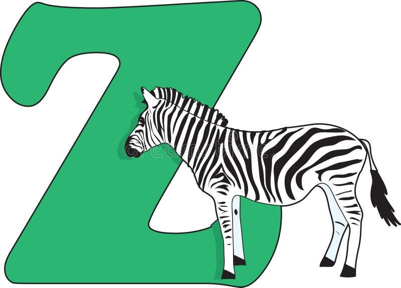 Letter Z with a Zebra vector illustration