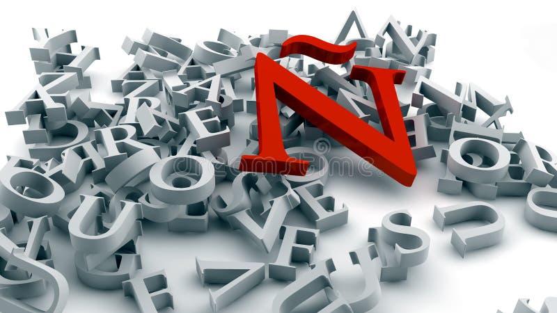 Lettera à nel rosso illustrazione vettoriale