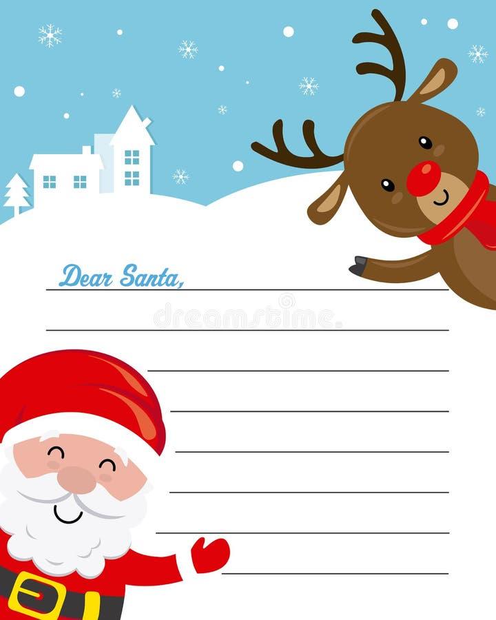 Lettera al Babbo Natale Il Babbo Natale e renna divertenti royalty illustrazione gratis