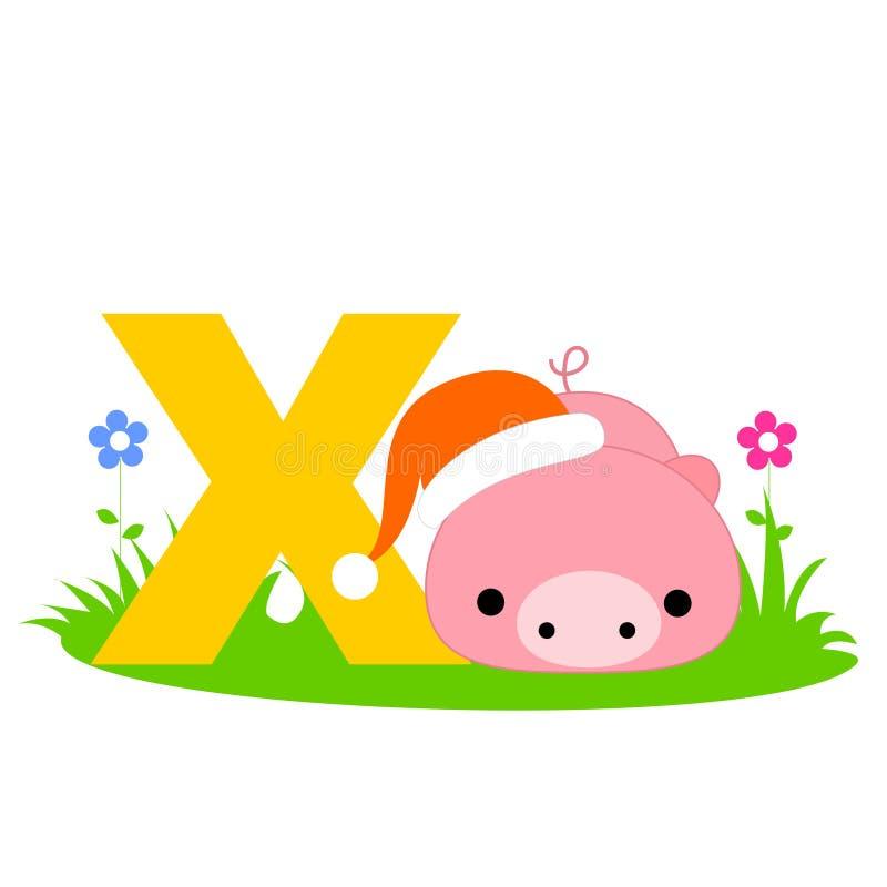Lettera animale di alfabeto - X