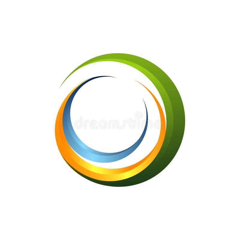 lettera astratta C di logo ed onda, logo moderno con colore piano, logo della lente, logo dell'onda, vettore di logo del modello, royalty illustrazione gratis