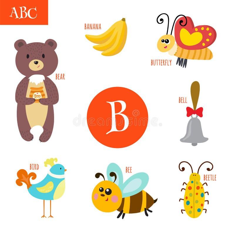 Lettera B Alfabeto del fumetto per i bambini Orso, ape, campana, uccello, illustrazione di stock