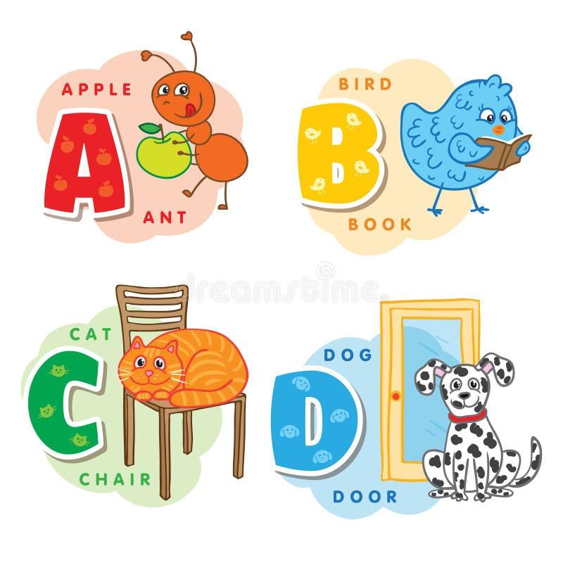 Lettera A B C D di alfabeto una formica, uccello, gatto, cane royalty illustrazione gratis