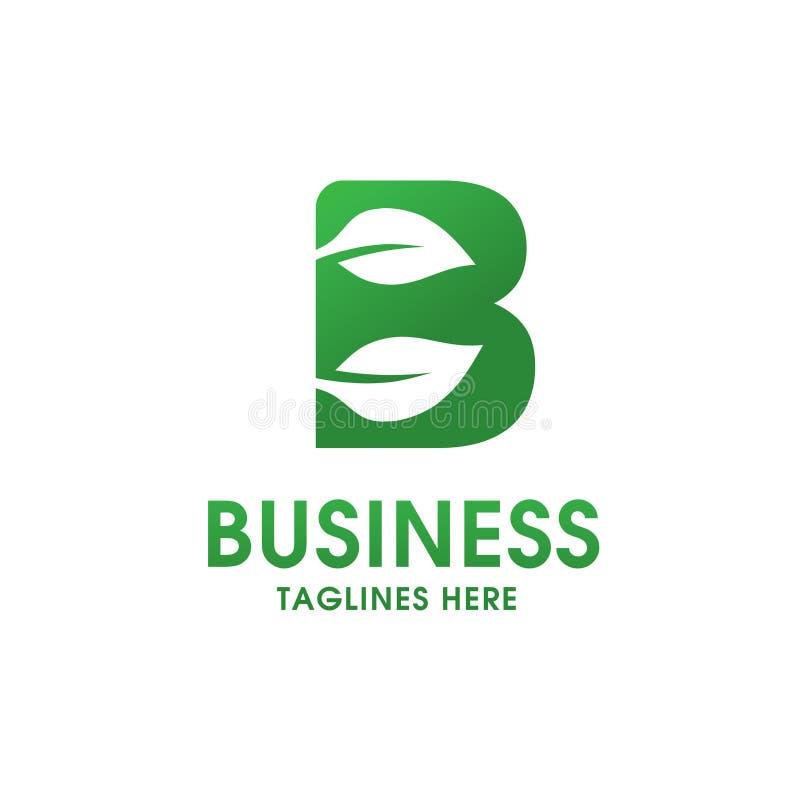 Lettera B con il logo della foglia illustrazione di stock