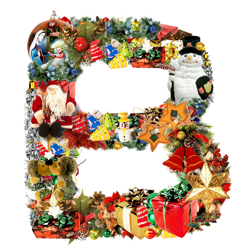 Lettera B, per la decorazione di natale illustrazione vettoriale