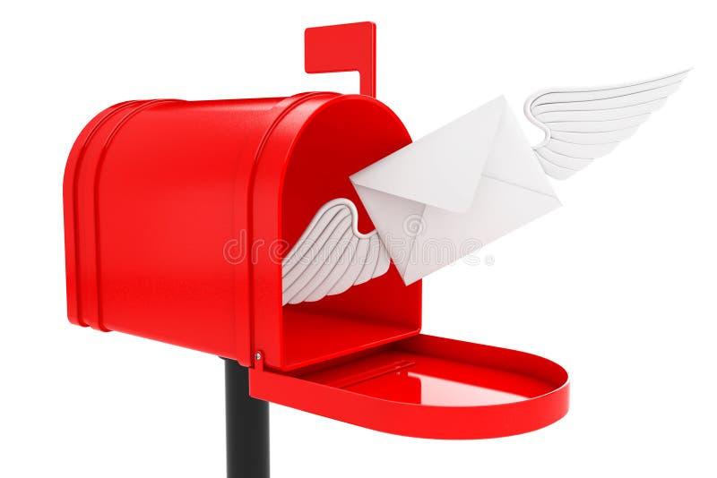 Lettera bianca della busta con Wing Flying alla cassetta delle lettere rossa 3d rendono illustrazione vettoriale