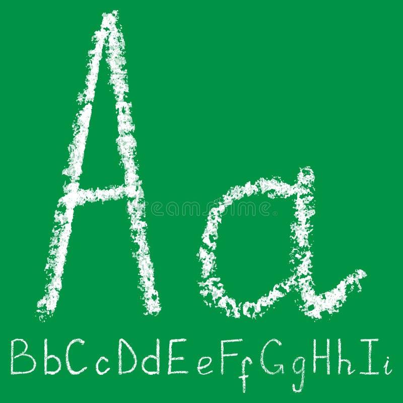 Lettera bianca scritta a mano del gesso con gli strati trasparenti su fondo verde illustrazione di stock