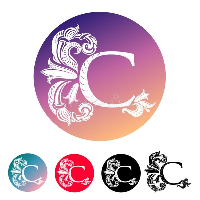 Lettera C nel cerchio illustrazione di stock