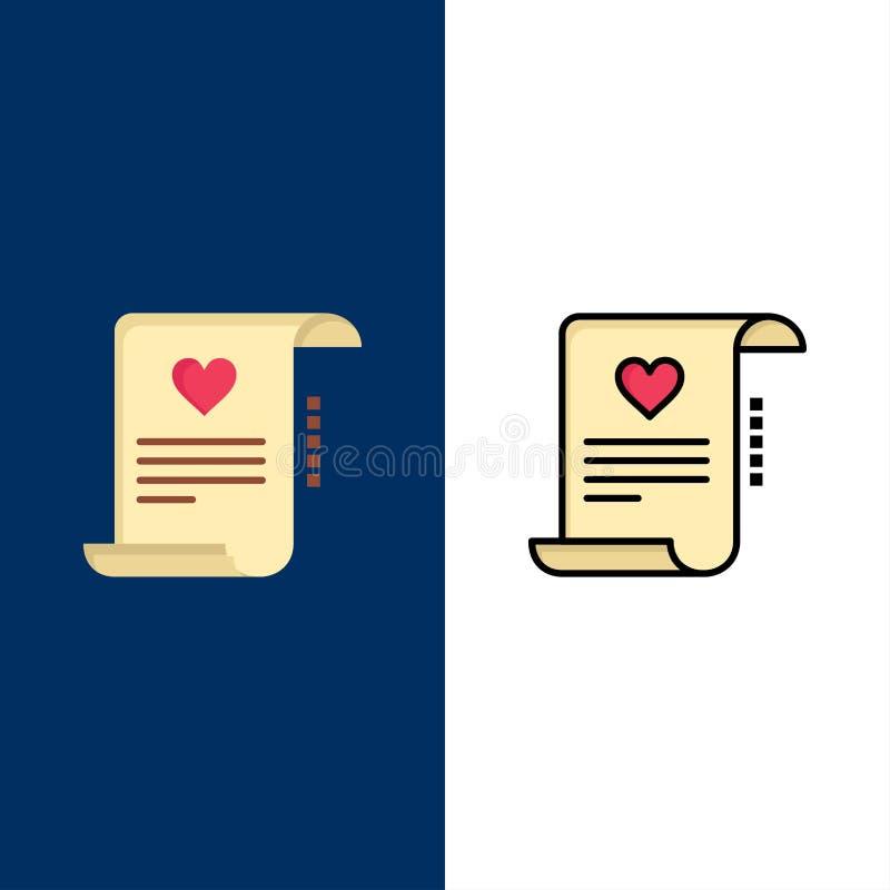 Lettera, carta, documento, lettera di amore, icone della carta di matrimonio Il piano e la linea icona riempita hanno messo il fo illustrazione di stock