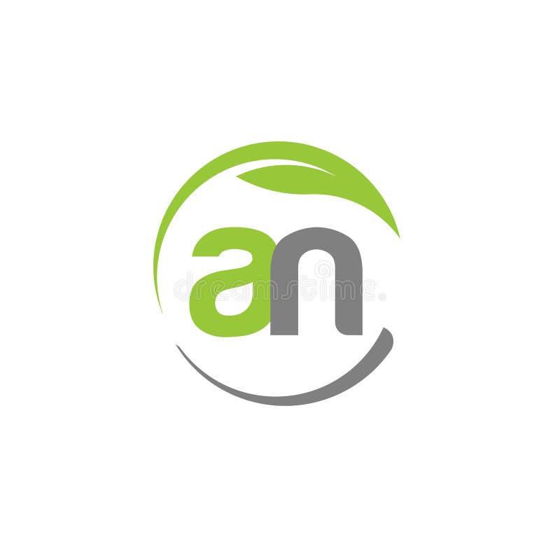 Lettera creativa con il logo della foglia di verde del cerchio illustrazione di stock