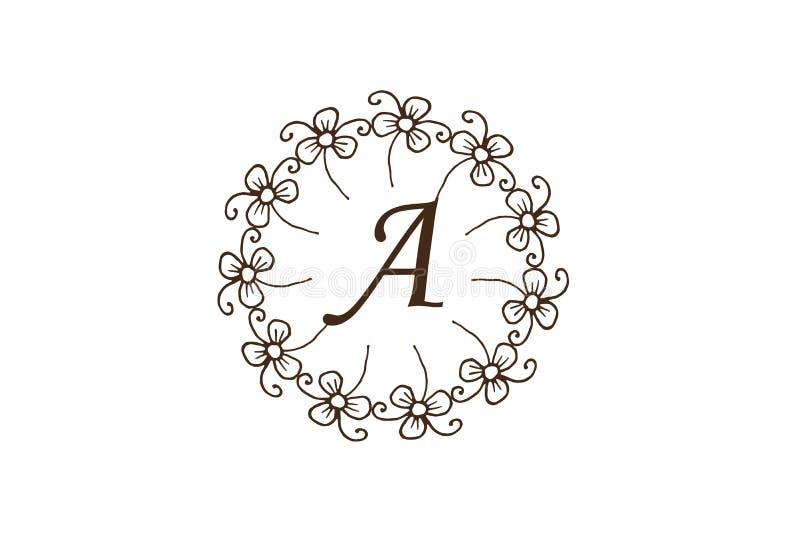 Lettera d'annata di stile del cerchio floreale elegante Logo Design royalty illustrazione gratis