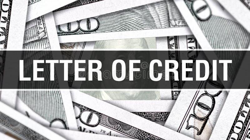 Lettera del concetto del primo piano di credito Dollari americani di denaro contante, rappresentazione 3D Lettera di credito alla illustrazione vettoriale