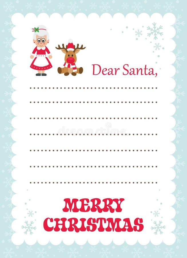 Lettera del fumetto a sig.ra Santa di Santa ed ai cervi di natale illustrazione vettoriale