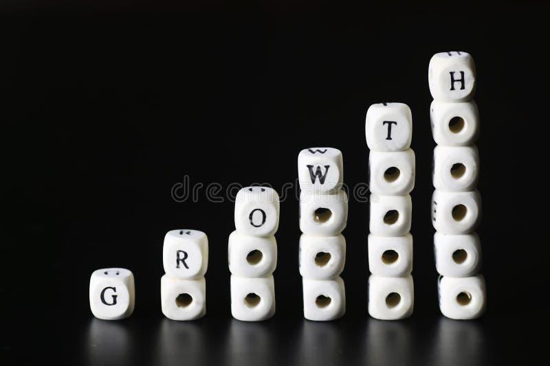 Lettera del testo di crescita immagini stock libere da diritti