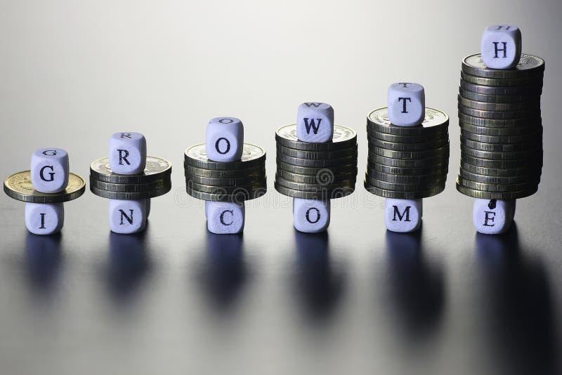 Lettera del testo di reddito di crescita fotografie stock libere da diritti