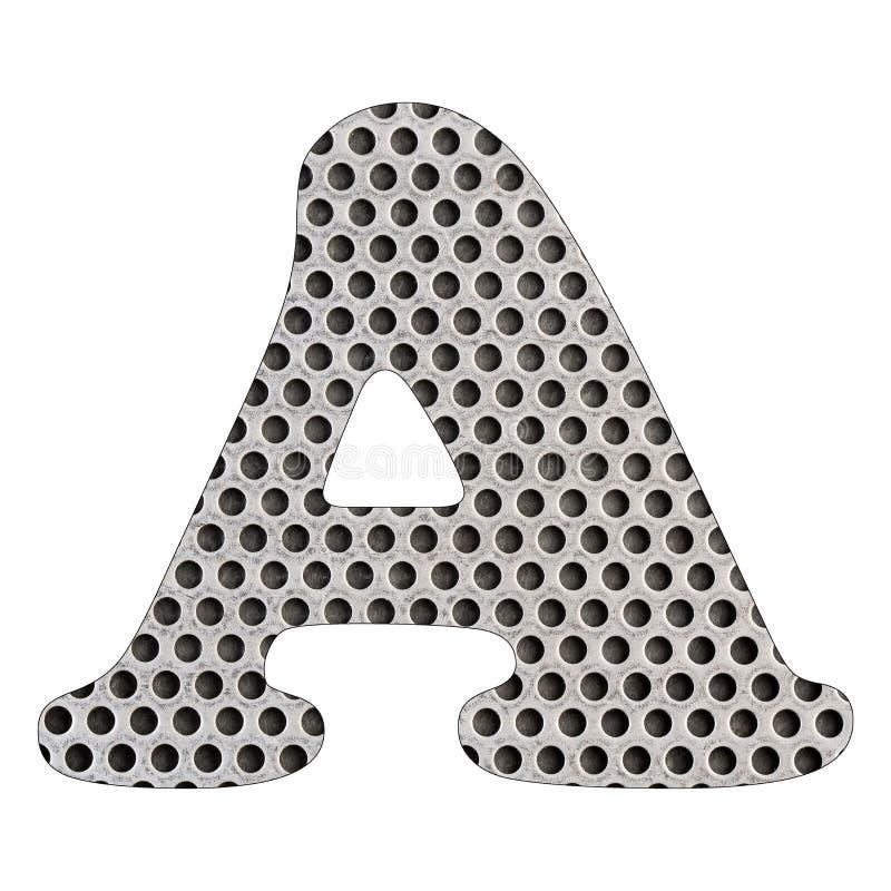 Lettera A dell'alfabeto - lamina di metallo perforata di acciaio inossidabile illustrazione vettoriale