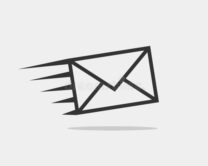 Lettera delle icone della busta Avvolga il modello di vettore dell'icona Elemento di simbolo della posta Etichetta di spedizione  royalty illustrazione gratis