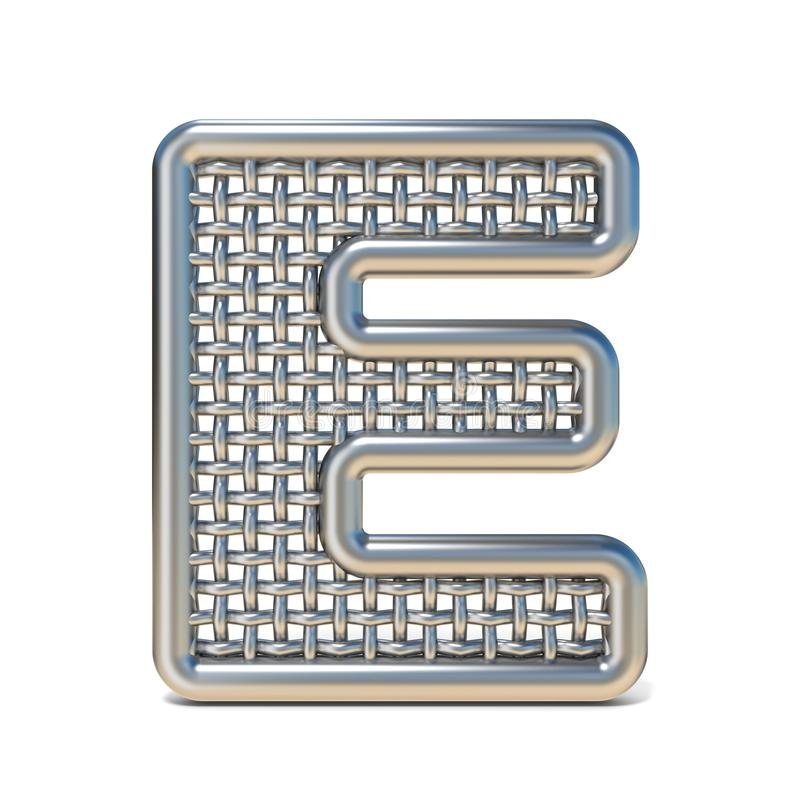 LETTERA descritta E 3D della fonte della maglia del nastro metallico illustrazione di stock