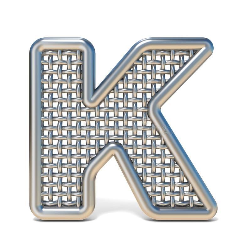 LETTERA descritta K 3D della fonte della maglia del nastro metallico illustrazione di stock