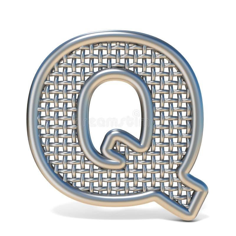 LETTERA descritta Q 3D della fonte della maglia del nastro metallico illustrazione di stock