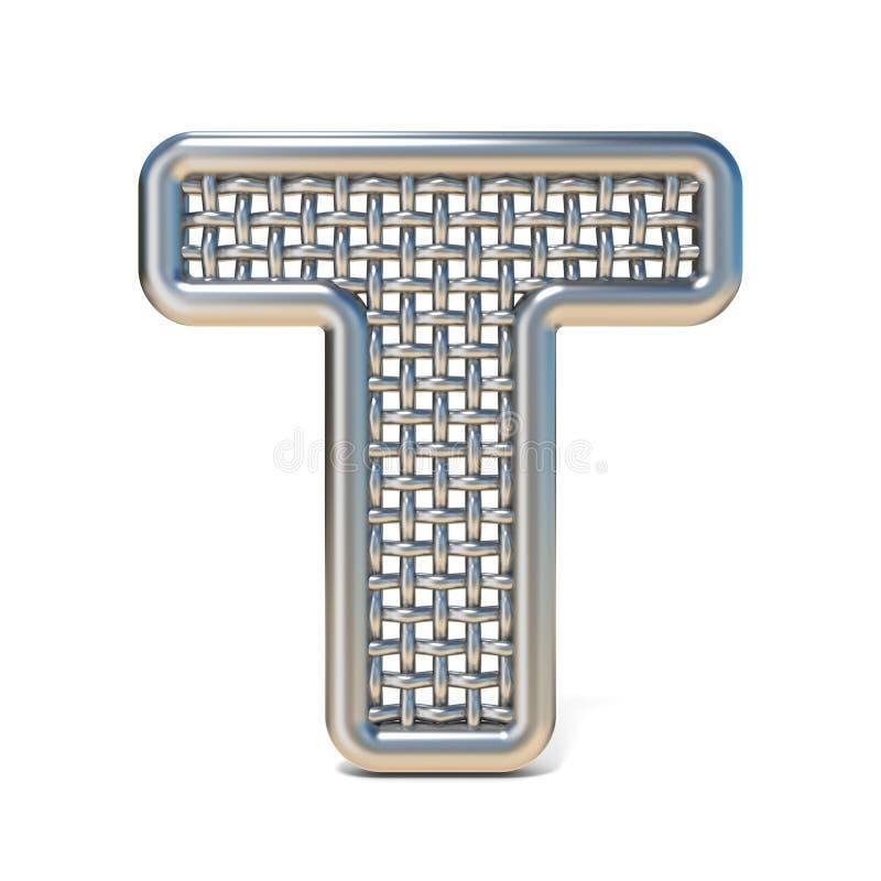 LETTERA descritta T 3D della fonte della maglia del nastro metallico illustrazione di stock