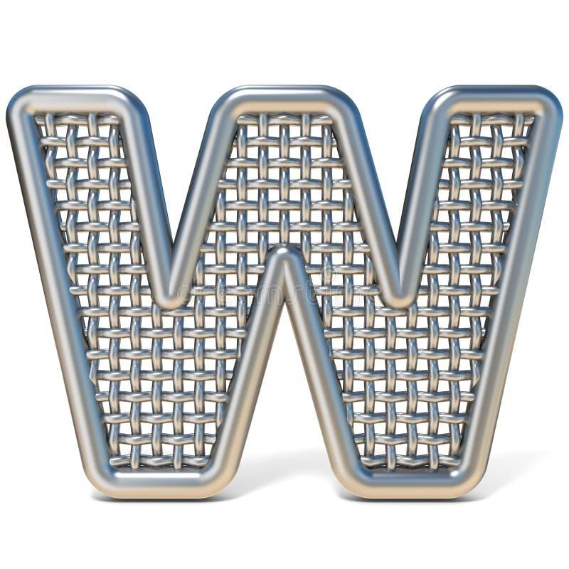 LETTERA descritta W 3D della fonte della maglia del nastro metallico royalty illustrazione gratis
