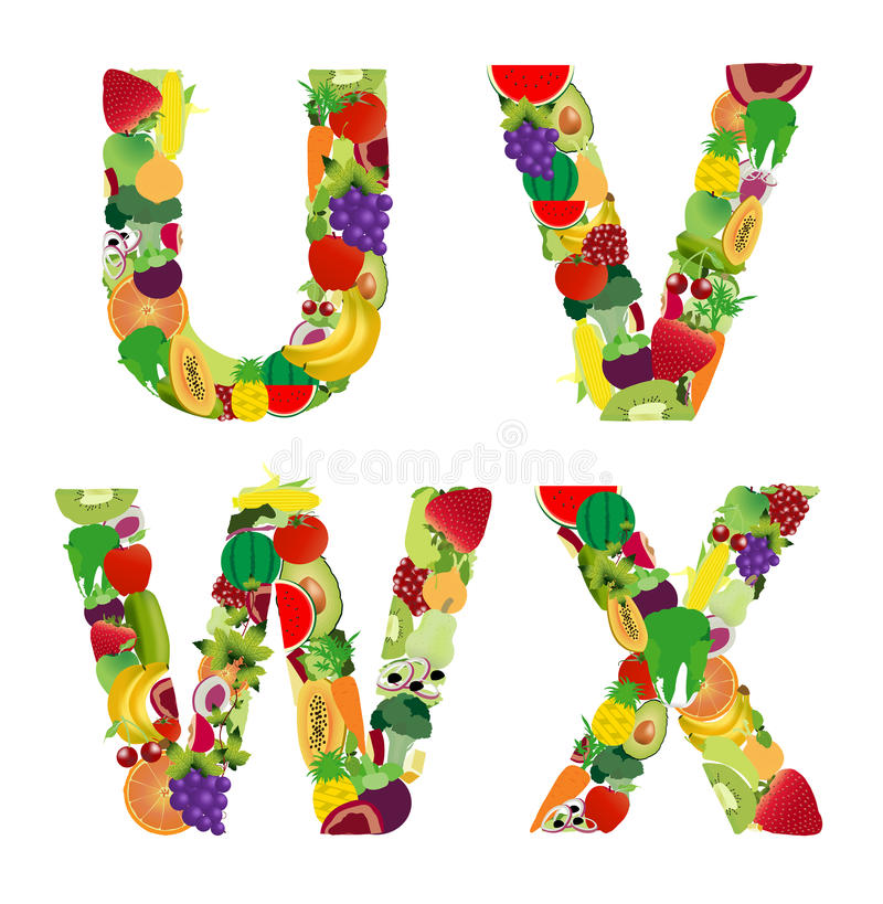 Lettera di alfabeto della frutta e della verdura dell'illustrazione di vettore illustrazione di stock